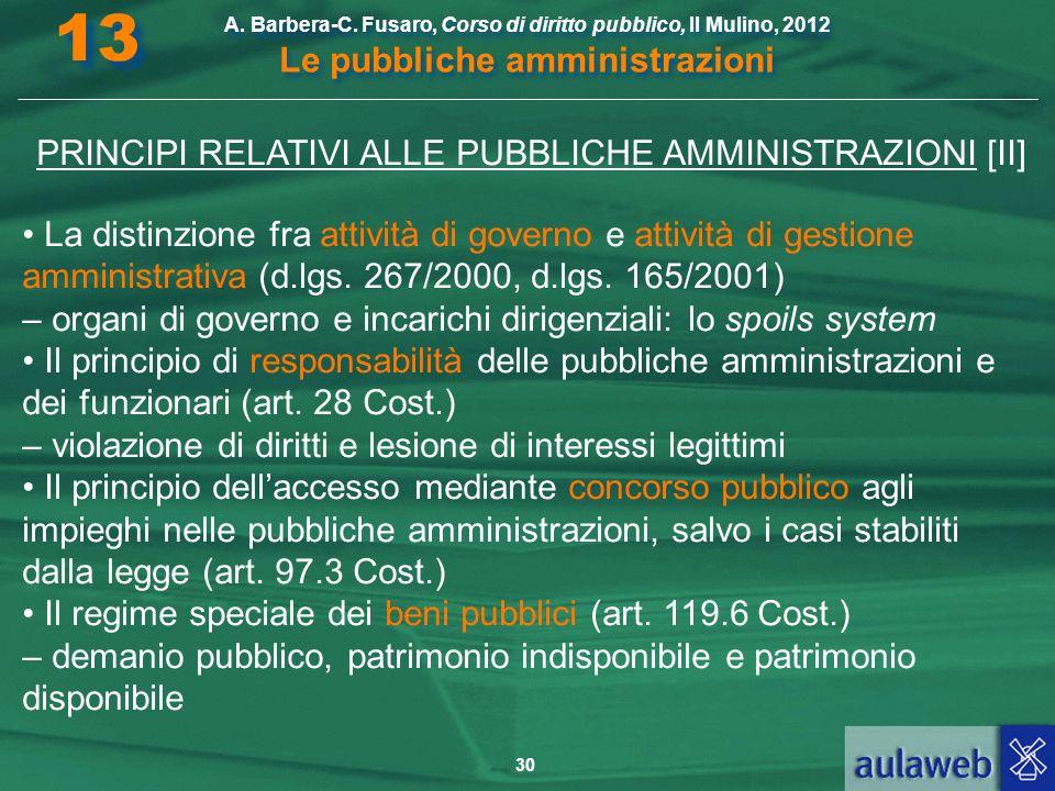 PRINCIPI RELATIVI ALLE PUBBLICHE AMMINISTRAZIONI [II]